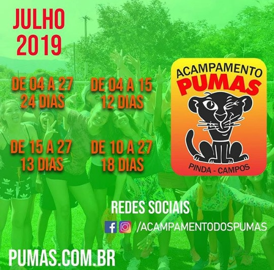 TEMPORADA JULHO 2019 ACAMPAMENTO DOS PUMAS