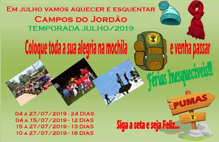TEMPORADA JULHO 2019 ACAMPAMENTO DOS PUMAS 2